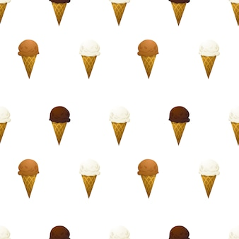 Vanille, chocolade en karamelijsje op wit naadloos patroon