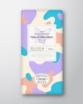 Vanille chocolade label abstracte vormen vector verpakking ontwerp lay-out met realistische schaduwen moderne...