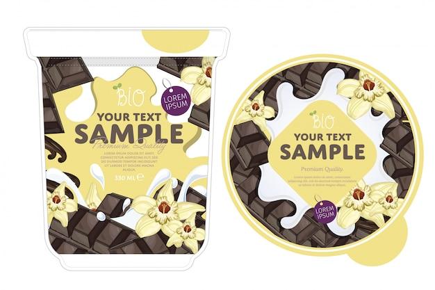 Vanille chocolade yoghurt verpakking sjabloon