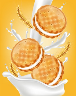 Vanille crème koekjes illustratie