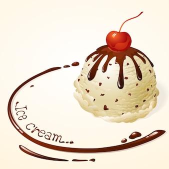 Vanille-ijs met chocoladesaus
