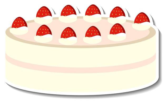 Vanillecake met aardbeisticker die op witte achtergrond wordt geïsoleerd