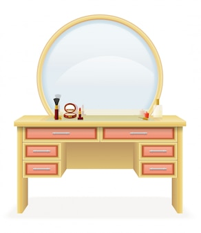 Vanity table modern furniture vector illustration