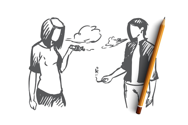 Vape, e-sigaret, meisje, rookconcept. hand getekend tienermeisjes vaping e-sigaretten afbeelding concept schets.