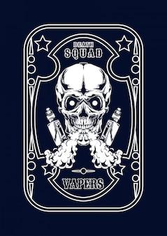 Vape schedelillustratie voor t-shirt