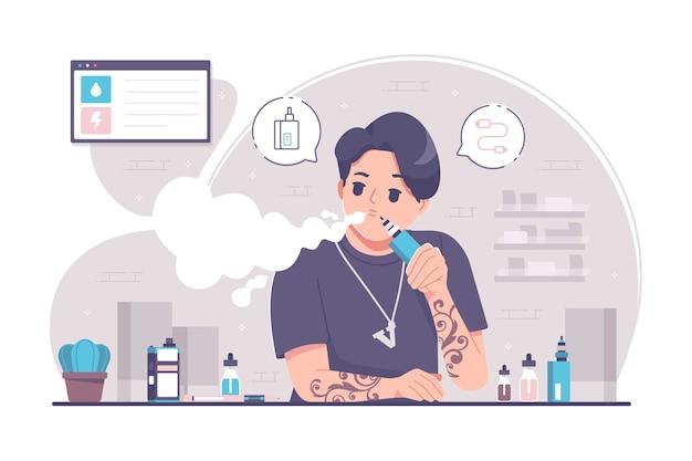 Vape verslaving concept afbeelding achtergrond