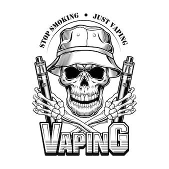 Vapende schedel in panama vectorillustratie. trendy personage in hoed met elektronische sigaretten, stop met roken tekst