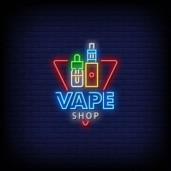 Vaping shop logo neon signs style text