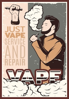 Vaping vintage illustratie
