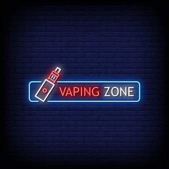 Vaping zone logo neon signs style text