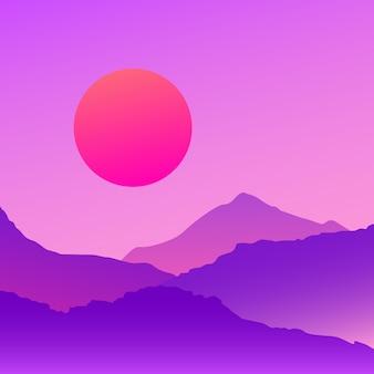 Vaporwave bergen landschap bij zonsondergang. vector eps 10 illustratie