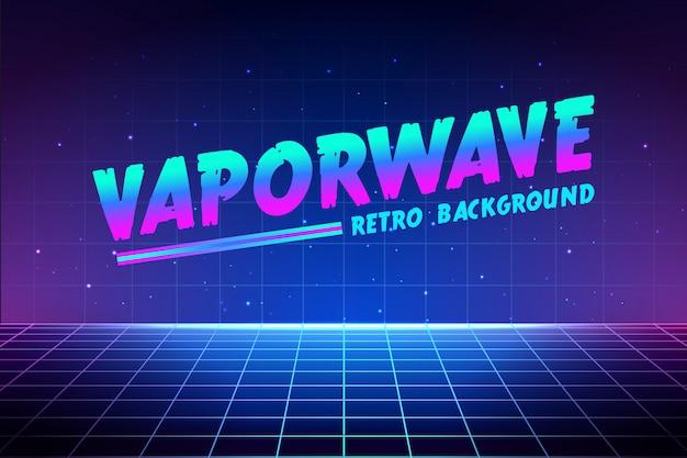 Vaporwave-tekst op lasernetachtergrond.