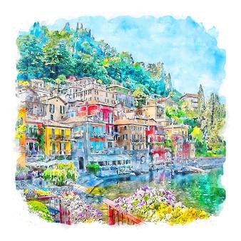 Varenna italië aquarel schets hand getekende illustratie