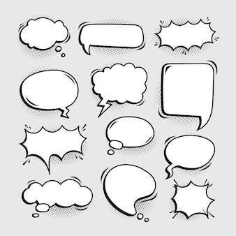 Variatie lege komische tekstballonnen