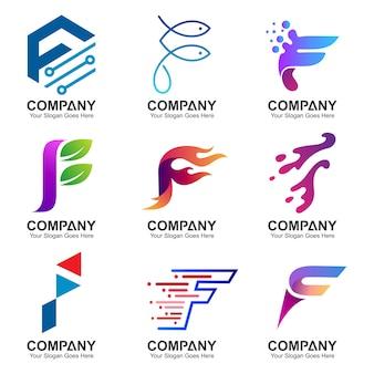 Variatie van de letter f logo collectie