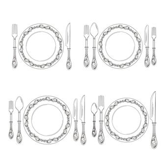 Variaties van de illustratie van de bestekrangschikking. restaurant met vork en lepel, bestek zilverwerk lijnstijl