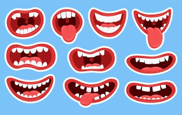 Variaties van de monden van monsters. grappige monden met uitstekende tanden en tong.