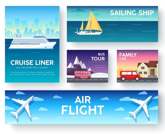 Variaties vervoer van reisgids vakantiegids