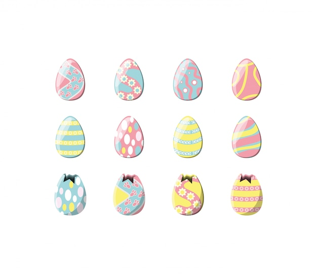 Variety happy easter icon set pack