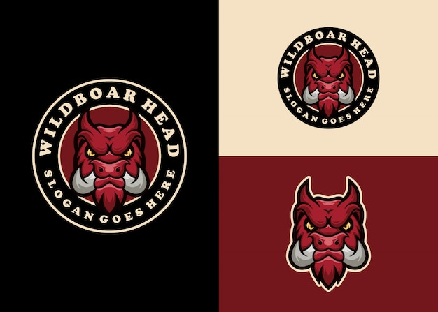 Varken creatieve mascotte embleem moderne logo ontwerp