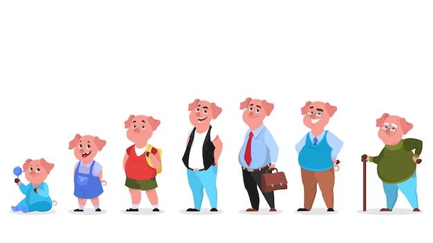 Varken-tekenset in menselijke kleding. generatie