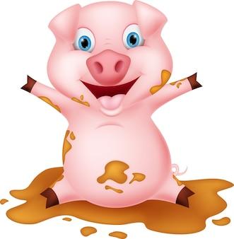 Varkensbeeldverhaal het spelen met modder