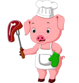 Varkenschef met geroosterde biefstuk