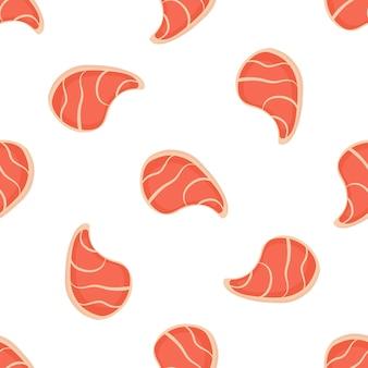 Varkensvlees steak naadloze patroon. gebruikt voor design oppervlakken, stoffen, textiel, verpakkingspapier.