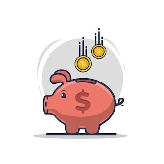 Varkenvormig spaarvarken dat veel geld inzamelt