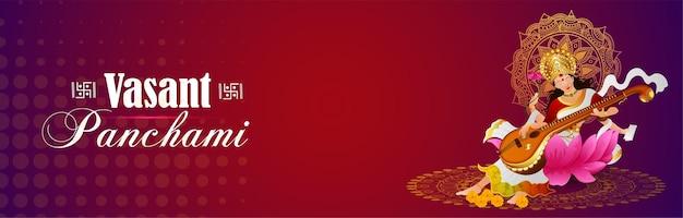 Vasant panchami creatieve achtergrond met saraswati veena en boeken