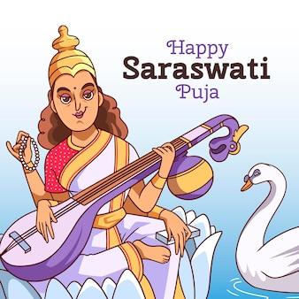 Vasant panchami festival saraswati puja en instrument