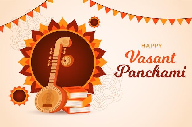 Vasant panchami gedetailleerd plat ontwerp