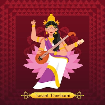 Vasant panchami-illustratie met saraswati-godin