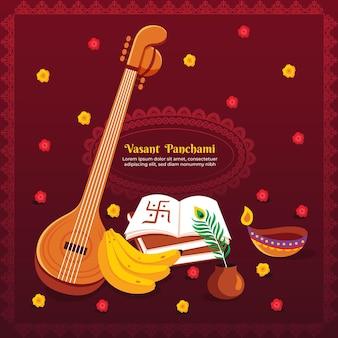 Vasant panchami illustratie met veena en bananen