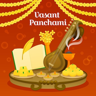 Vasant panchami illustratie met veena en eten