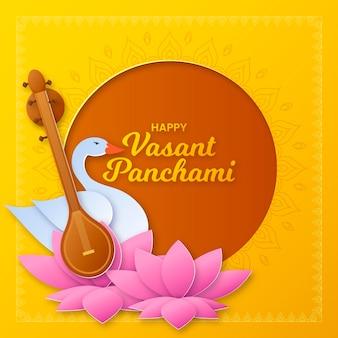 Vasant panchami in papieren stijl