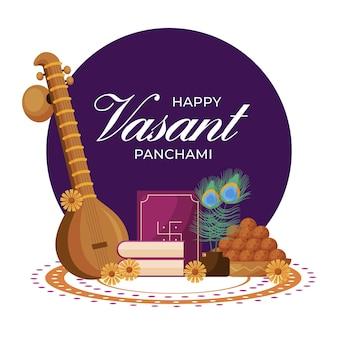 Vasant panchami in plat ontwerp Gratis Vector