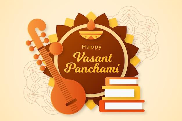 Vasant panchami legt papierstijl in lagen