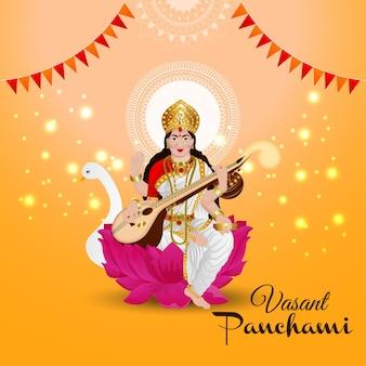 Vasant panchami met saraswati-illustratie