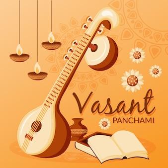 Vasant panchami muziekinstrument en kaarsen