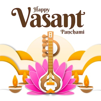 Vasant panchami muziekinstrument en lotul bloem