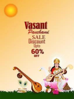 Vasant panchami verkoop poster of flyer