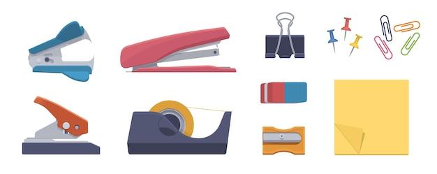 Vaste set. nietmachine, perforator, nietjesverwijderaar, tapedispenser, gum, puntenslijper