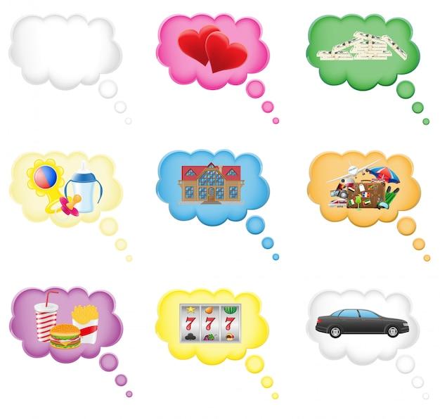 Vastgesteld pictogrammenconcept een droom in de wolken vectorillustratie