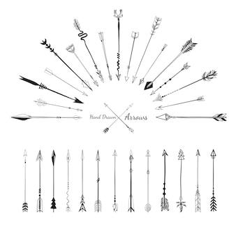Vastgestelde inzameling van de illustratie van pijlenpictogrammen op witte achtergrond
