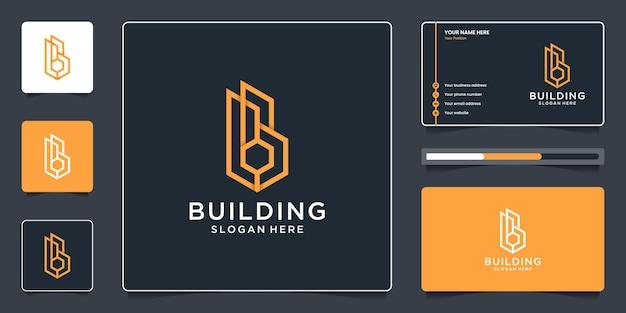 Vastgoed bouwen met een eenvoudig letter b-logo-ontwerp en visitekaartjes