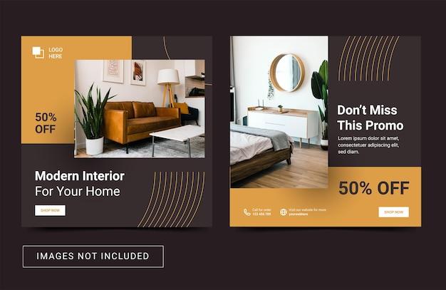Vastgoed interieur meubilair social media sjabloon vierkante flyer banner post minimal style