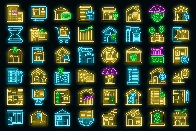 Vastgoed investeringen pictogrammen instellen. overzichtsreeks van vastgoedbeleggingen vector iconen neon kleur op zwart