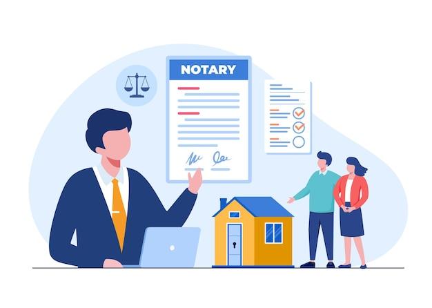 Vastgoed juridische notaris, onroerend goed, adviseur en hypotheek, overeenkomst, platte illustratie vector sjabloon