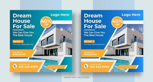 Vastgoed sociale media post huis eigendom instagram post of vierkante webbanner ontwerp